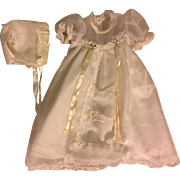 Christening Gown with Bonnet for Baby Dolls