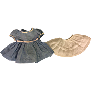 Blue Dotted Swiss Dress and Slip for Composition and Hard Plastic Dolls 1940