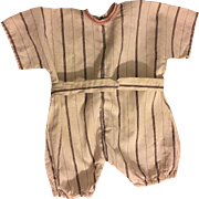 Striped Romper for Large Composition or Bisque Dolls 1910