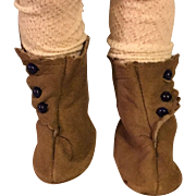 Brown Suede Side-Button Boots for Bisque Dolls