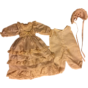 Three Piece Silk Doll Ensemble for Bisque Baby Dolls