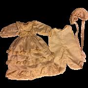 Three Piece Silk Doll Ensemble for Bisque Baby Dolls