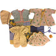 Blues and Yellows Six Piece Layette for Tiny Tears and Friends 1950s