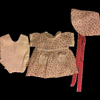 Print Dimity Dress, Bonnet, and Chemise for Composition Dolls 1930s