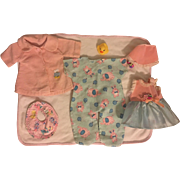 Pinks and Blues Nine Piece Layette for Tiny Tears and Friends 1950s