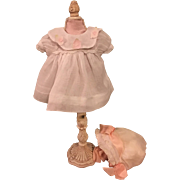 Lovely Factory White Organdy Dress and Bonnet and Pink Ribbons for Small Bisque or Composition 1940