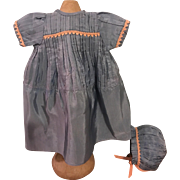 Blue Pleated Taffeta Dress and Bonnet for Bisque Dolls 1910
