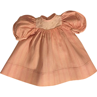 Antique Pink and White Doll Dress for Bisque Dolls 1910