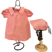 Pink and White Checked Sackcloth Mama Doll Dress and Bonnet 1920