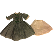 Green and White Plisse Fashion Doll Dress, Slip/Panty Composition 1950s