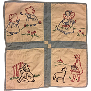 Precious Embroidered Quilt Perfect for Dolls 1940
