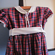 1950s Plaid Schoolgirl Dress for Playpal Dolls