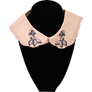 Sweet Textured Cotton Scalloped Child's Collar with Poodles 1950's