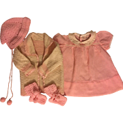 Pink Dotted Swiss Dress, Sweater, Bonnet, and Booties for Big Dolls 1950s