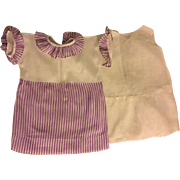 Purple and White Dress for Large Composition or Mama Dolls 1930s