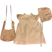 Antique Gown, Bib, and Bonnet for Baby Dolls 1920