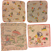 Four Vintage Children's Handkerchiefs