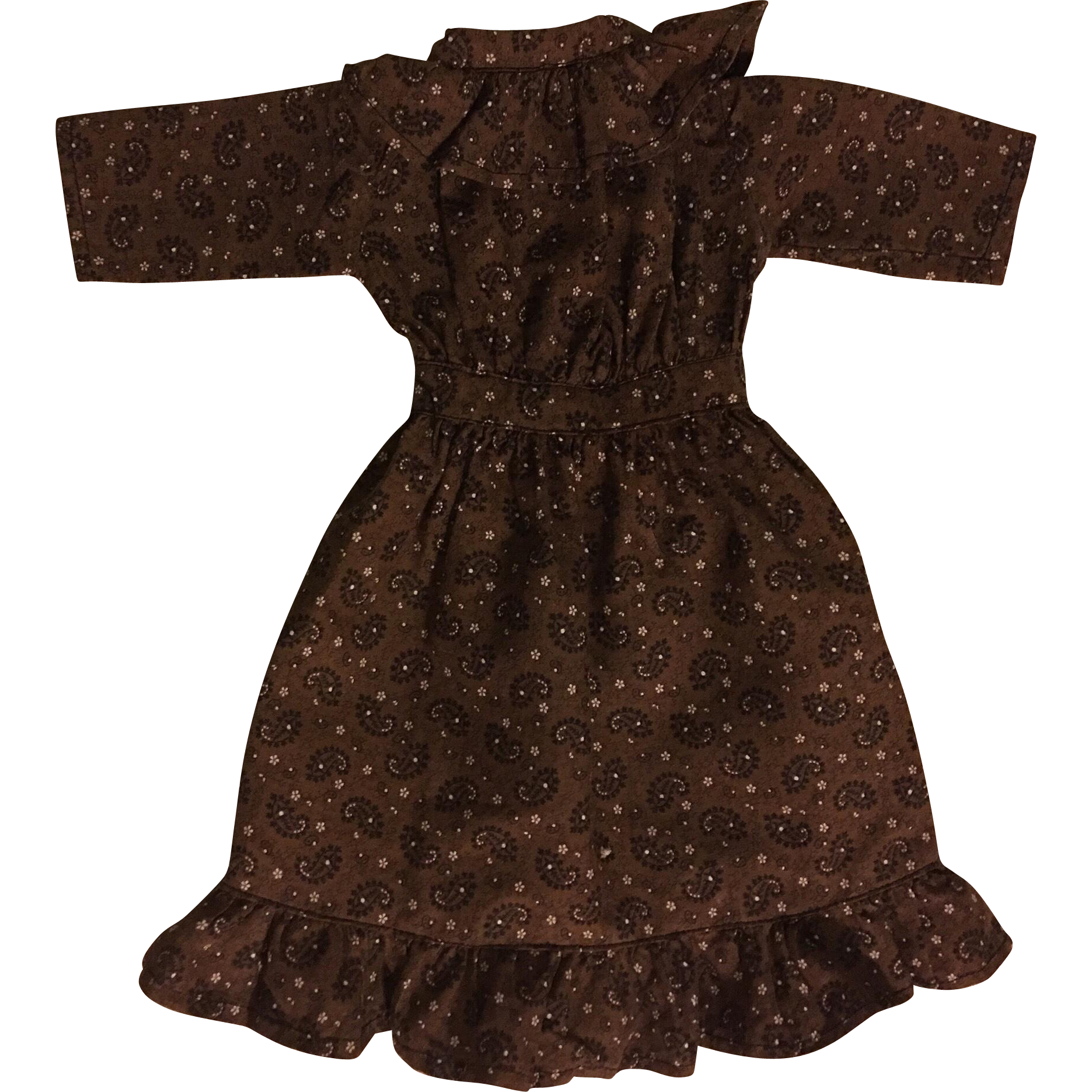 Vintage Brown Print Dress for China Heads 1920s