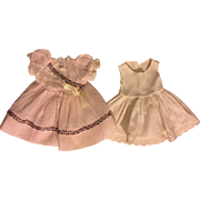 Pastel Pink Voile Dress and Slip for Hard Plastic Dolls 1950s