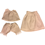 Antique Three Piece Underwear Outfit for Bisque Dolls 1900