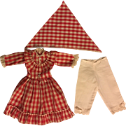 Red Checked Dress, Scarf, Bloomers for Composition Dolls 1920