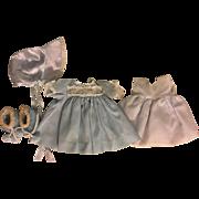 Blue Dress, Slip, Bonnet, Booties for Baby Dolls