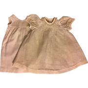 Antique Windowpane Cotton Doll Dress 1900