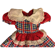 Red Plaid Dress and Straw Hat for Hard Plastic Dolls 1950s