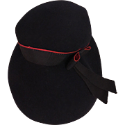 Navy Blue and Red Felt Vintage Child's Hat