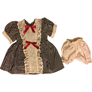 Black and White Dress for Hard Plastic or Composition Dolls 1940s