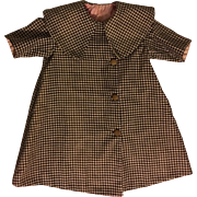 Beautiful Antique Checked Coat for Bisque Dolls 1910