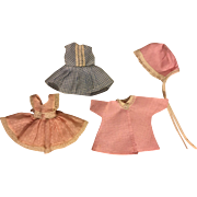 Three Outfits for Small Dolls such as Ginny and Friends 1950s