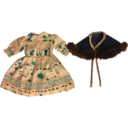 Turquoise and white Dress for Antique Dress and Cape for Antique Dolls 1910