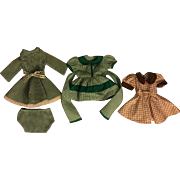 Three Dresses for Hard Plastic and Composition Dolls 1940s