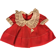 """Rare 1936 Red """"Poor Little Rich Girl"""" Shirley Temple Doll Dress"""