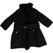 Lovely Antique Black Wool Fur-Trimmed Lined Doll Coat