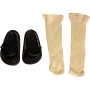 Black Vinyl Fairyland Shoes and Rayon Socks for Hard Plastic Dolls 1950s