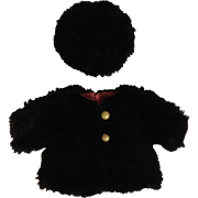 Black Fur Doll Coat and Tam
