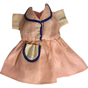 Pink and Blue Waffle Textured Dress for Hard Plastic Dolls 1950s