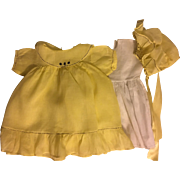 Antique Yellow Dress and Bonnet for French or German Bisque
