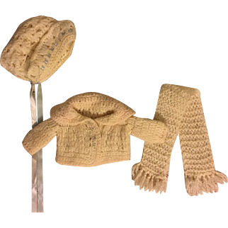 Three Piece Knit Sweater Set for Small Dolls 1920