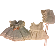 Tiny Tears Blue Nylon Party Dress, Slip, and Bonnet 1950s