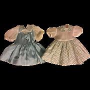 Two Twin Blue Taffeta Doll Dresses 1950s