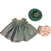 Green and White Check Dress, Tam, Underwear for Baby Dolls 1950