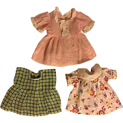Three Dresses for Small Composition Dolls 1930s Patsy and Friends