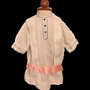 Antique White Ribbed Child's Dress Edwardian