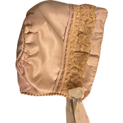 Slipper Satin Bonnet for Baby Dolls 1920