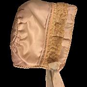 Slipper Satin Bonnet for Baby Dolls 1920
