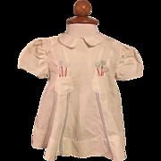 Vintage White Balloon Embroidered Dress 1930s