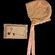 Antique Unusual Bonnet, Birth Announcement and Bib 1913